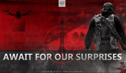 An ISIS poster threatening to carry out a terrorist attack with a drone against the Eiffel Tower (Muharir Al-Ansar media foundation, October 13, 2018). Note: Due to the bad quality of the photo, the drone on the left of the Eiffel Tower is barely visible.