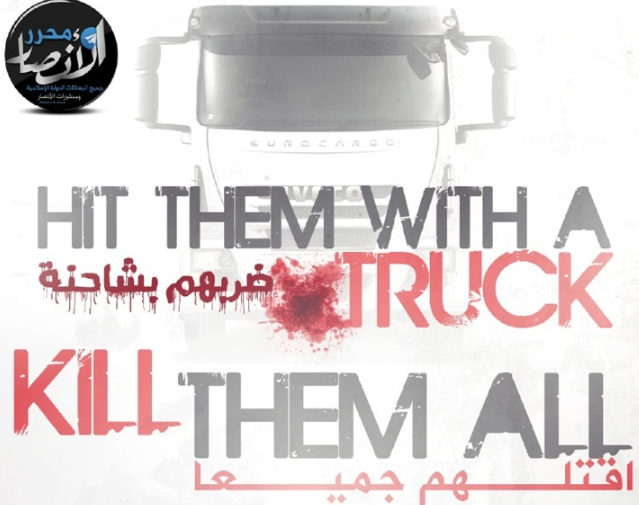 Poster of the Muharir Al-Ansar media foundation, affiliated with ISIS, calling for ramming attacks by trucks (Al-Bawaba, February 27, 2018). This media foundation is the one that recently published the threatening poster against the Eiffel Tower.