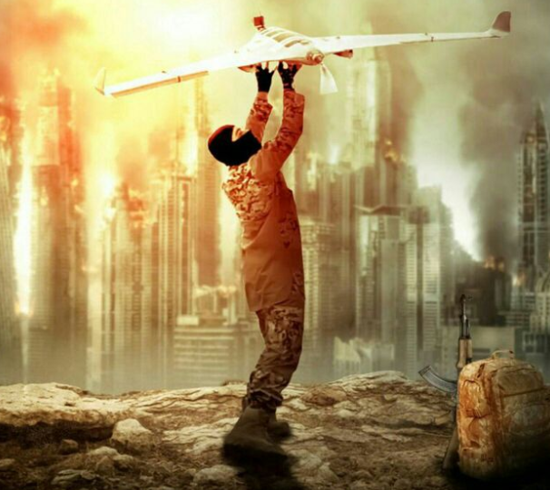 Poster in which ISIS threatens to operate an offensive model airplane against a Western city.