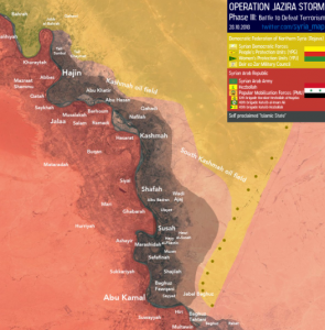 The ISIS enclave (brown) after confrontations this past week with SDF forces (yellow). The Syrian army and the forces supporting it are marked in red (SyriaInfo@syria_map Twitter account, apparently affiliated with the Iraqi administration, October 28, 2018).