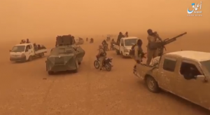 A mobile ISIS force preparing during a sandstorm for movement to carry out the counterattack to retake the al-Sousah area (A'maq, October 29, 2018).