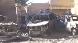 SDF vehicles destroyed during ISIS's counterattack. Left