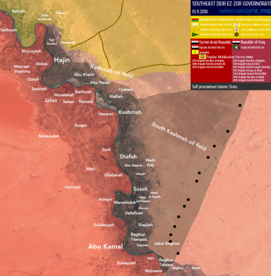 ISIS enclave (marked in brown) after the clashes which took place last week with the SDF forces (in yellow). The Syrian army and the forces supporting it are marked in red (SyriaInfo@syria_map Twitter account, probably affiliated with the Iraqi regime, November 1, 2018)