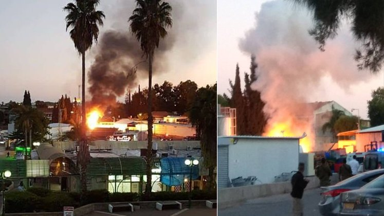 A fire in Sderot caused by a rocket hit on a gas depot (Twitter account of Hamas' military wing, November 12, 2018).