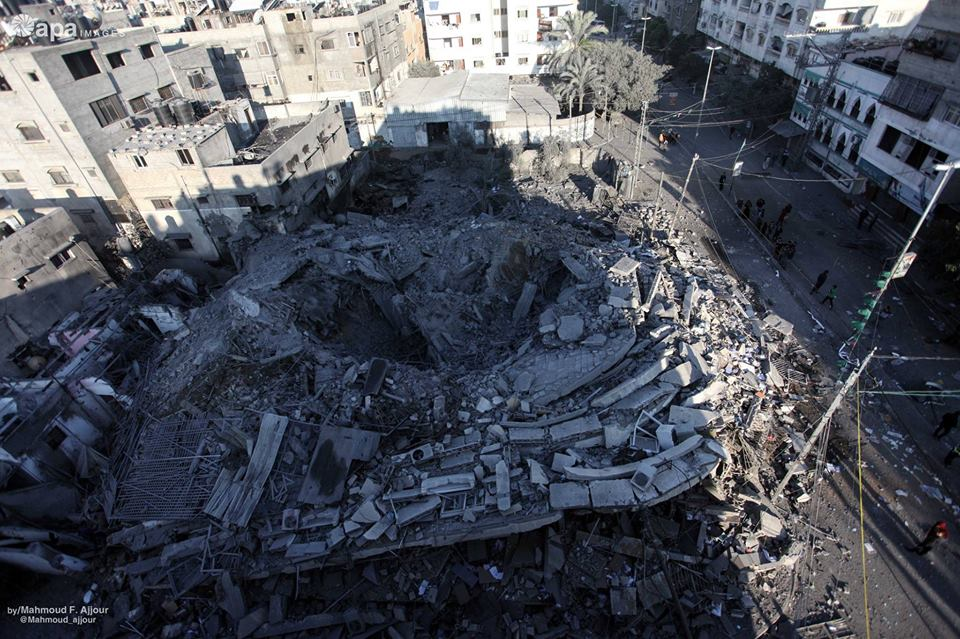 The rubble left after the attack on the al-Rahma Building, used by Hamas military intelligence (Shehab Facebook page, November 13, 2018).