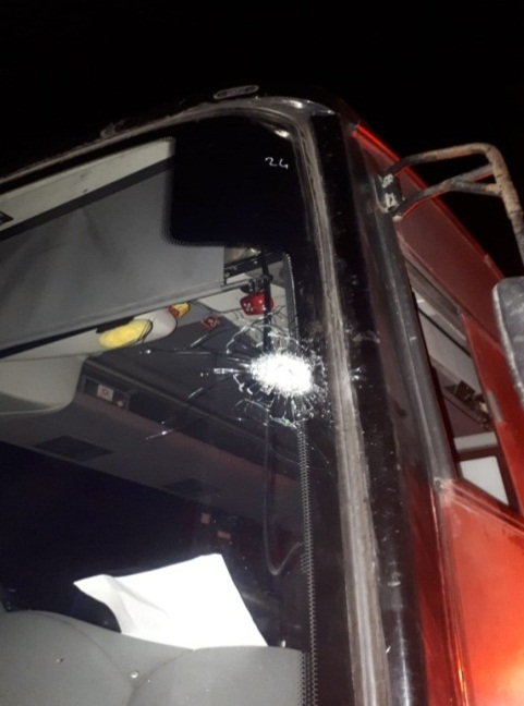 The windshield of the bus attacked near Beit El (Beit El security, November 7, 2018).
