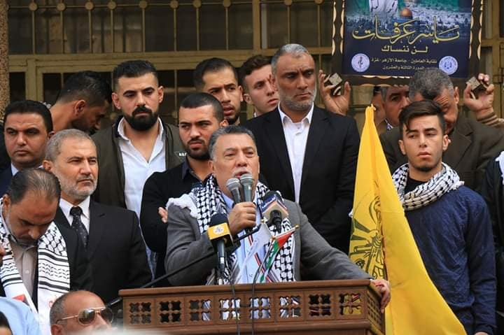 Ahmed Hiles, senior Fatah figure in the Gaza Strip, at the main rally at al-Azhar University in Gaza City.