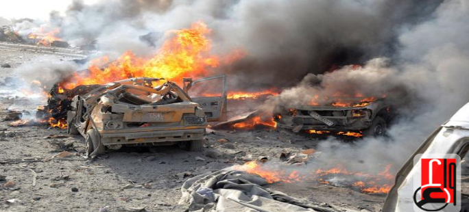 Cars on fire at the scene of the car bomb explosion near a restaurant in west Mosul (Iraqi News Agency, November 8, 2018)