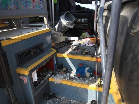 The school bus hit by the Kornet missile (NRG, photo: Eddie Israel, April 7, 2011)