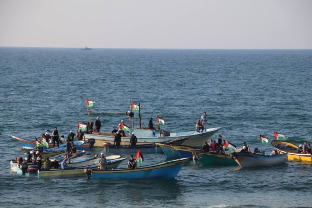 The boats of the mini-flotilla off the coast of the northern Gaza Strip (Facebook page of the PFLP's media unit in the northern Gaza Strip, November 19, 2018).