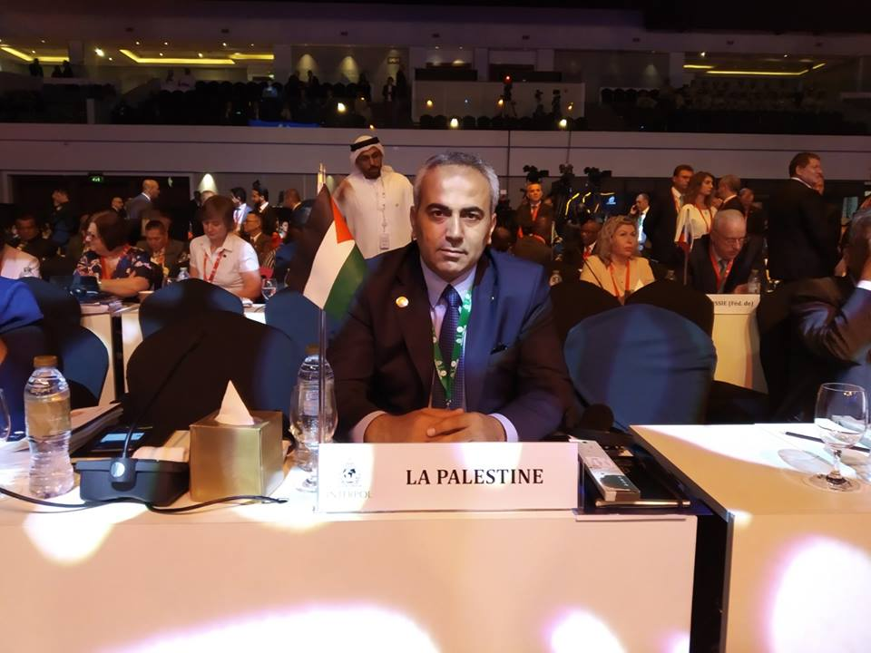 Brigadier General Salah al-Din, head of the Palestinian delegation, participates in an INTERPOL conference for the first time. The conference was held in Dubai (Facebook page of the Palestinian police force, November 18, 2018).