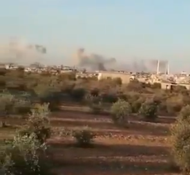 Syrian army artillery fire at one of the villages southeast of Idlib (Twitter, November 17, 2018).