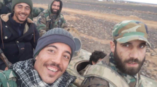 Operatives of forces supporting the Syrian army after the takeover of the Al-Safa area from ISIS (Wissam@Wissamsy997 Twitter account, November 17, 2018)