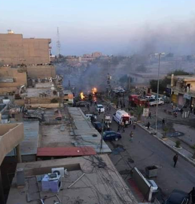 Cars on fire at the scene of the car bomb explosion in central Tikrit (Mohammed Abed Suleman's Twitter account, November 18, 2018)