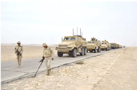 Egyptian security forces in Sinai searching for mines and IEDs.