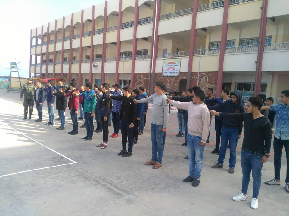 Students drilling in a high school in Rafah (national security forces' Facebook page, November 22, 2018).