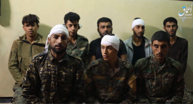 The prisoners from the SDF who appeared on the video (Amaq, November 25, 2018)