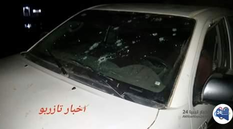 Vehicle hit by ISIS operatives in an attack on the police station in Tazirbu (Akhbar Libya, November 23 and 24, 2018).