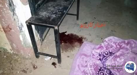 Blood stain on the floor of one of the rooms in the police station (Akhbar Libya, November 23 and 24, 2018)