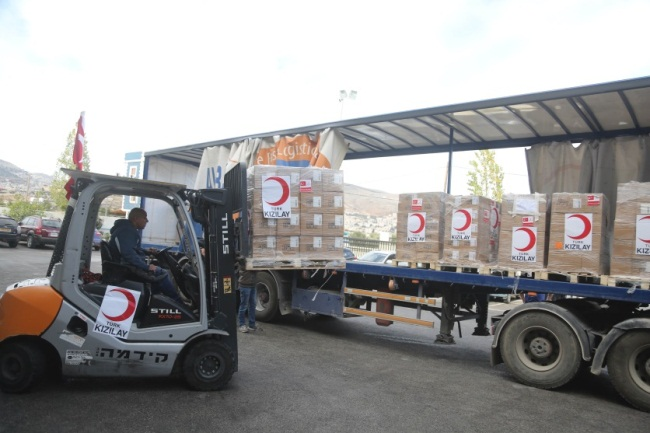 A shipment of medicine for the Gaza Strip, donated by the Turkish Red Crescent (al-Andalou News, December 2, 2018).