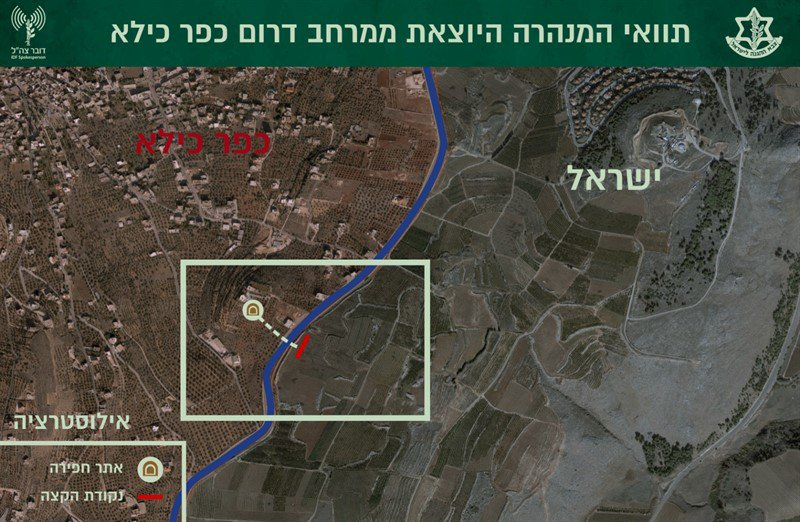 The route of the tunnel extending 40 meters into Israeli territory (IDF spokesman, December 4, 2018).