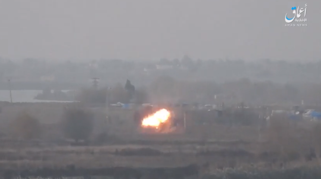 ISIS antitank missile hitting a Syrian army tank in the village of Al-Asha'er, north of Albukamal (Shabakat Shumukh, December 3, 2018).