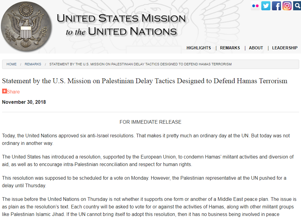 The beginning of the proposed resolution (website of the US Mission to the UN, November 30, 2018).