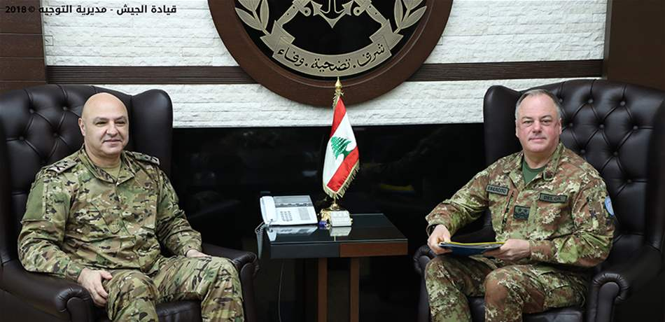 General Joseph Aoun, commander of the Lebanese army (left), and Major General Stefano Del Col, commander of UNIFIL, meet to discuss the exposure of the tunnels on the Israeli-Lebanese border (lebanon24 website, December 7, 2018).