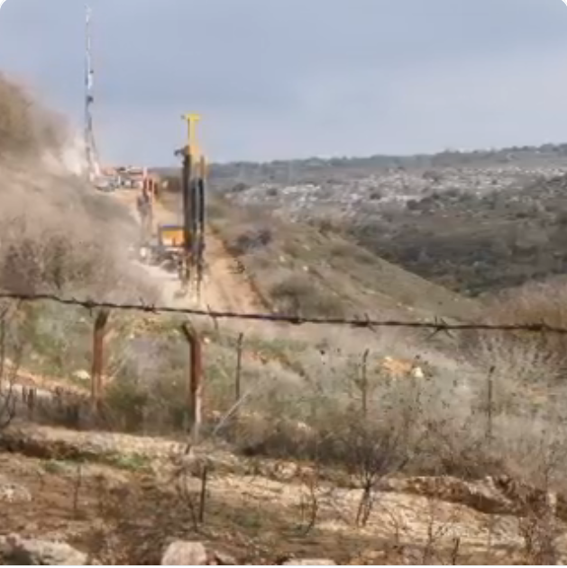 IDF activity to locate tunnels near the village of Blida, documented by a correspondent of al-Manar TV and the al-Nur radio station, both affiliated with Hezbollah (Twitter account of Ali Shuaib, December 11, 2018).