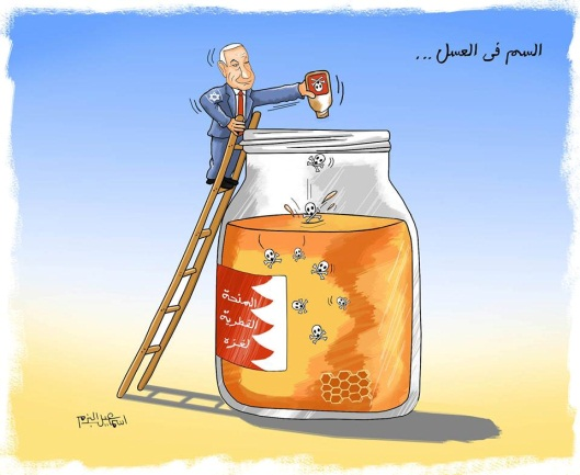 "Cartoon claiming the Israeli prime minister is poisoning the help from Qatar. The Arabic reads, ""Poison and honey"" (Isma'il al-Bazam's Facebook page, December 8, 2018)."