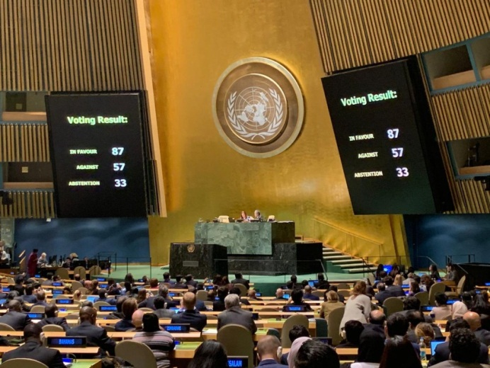 The boards showing the results of the vote on the American resolution to condemn Hamas (Twitter account of Danny Danon, the Israeli ambassador to the UN, December 6, 2018).