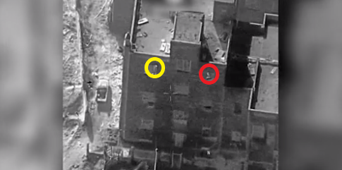 The hospital in Hajin. In yellow: ISIS operative who fired from the window. In red: Another ISIS operative near the window (Operation Inherent Resolve website, December 10, 2018).