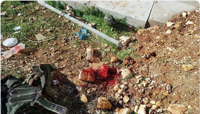 The scene of the stabbing attack in Beit El (Palinfo Twitter account, December 14, 2018).