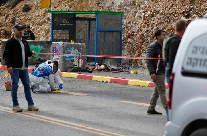 The scene of the shooting attack at Givat Asaf (Palinfo Twitter account, December 13, 2018).