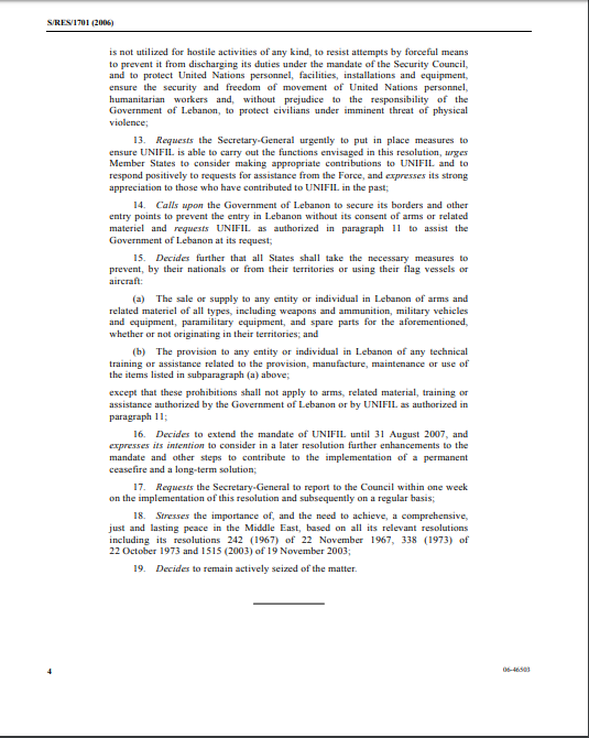 UN Security Council Resolution 1701, full text