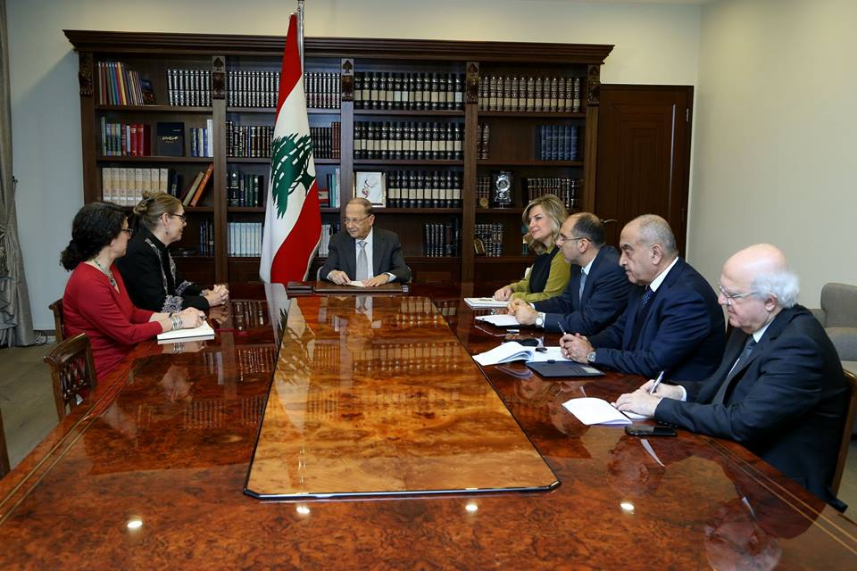 Lebanese president Michel Aoun meets with the UN coordinator in Lebanon (Michel Aoun's Facebook page, December 13, 2018).