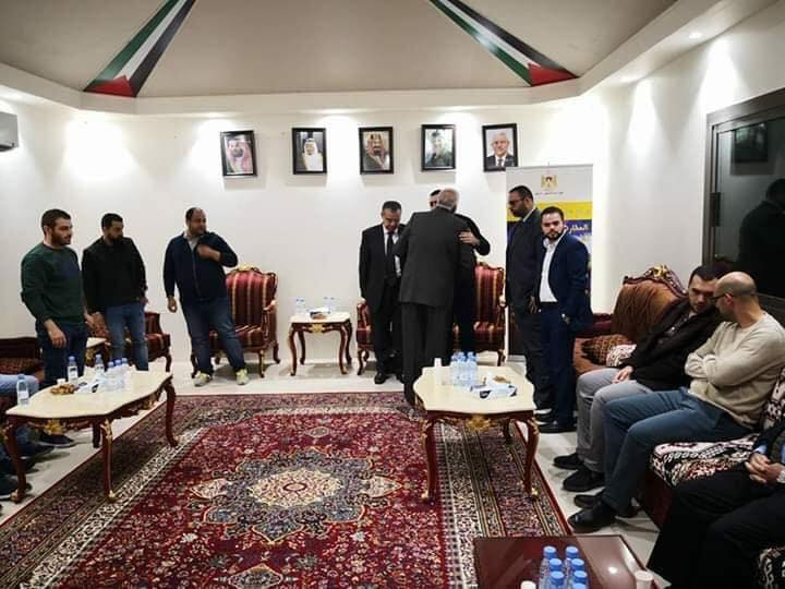 The mourning tent for Ashraf Na'alwa opened by the Palestinian ambassador to Saudi Arabia in the embassy in Riyadh. People who came to offer condolences were received by the ambassador, Ashraf Na'alwa's brother and the embassy staff (Fatah Facebook page, December 15, 2018).