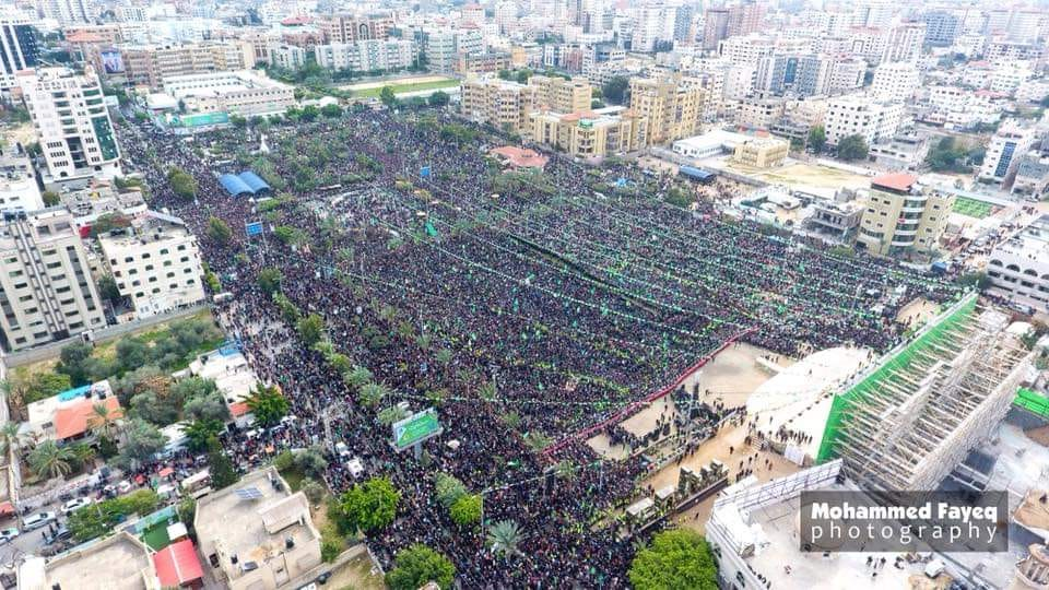 The mass rally in Gaza City (Facebook page of photographer Anas Jamal al-Sharif, December 16, 2018).