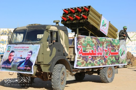 "Hamas military wing rockets. The banner on the truck reads, ""artillery corps"" (Izz al-Din Qassam Brigades Twitter account, December 15, 2018)."