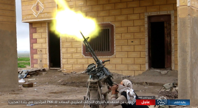 ISIS operative firing at a Coalition aircraft flying over Hajin (Al-Sham – Baraka Province, December 14, 2018)