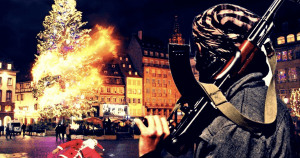 Poster published by an ISIS supporter showing Santa Claus bleeding on the ground in central Strasbourg (P J Media, December 14, 2018)