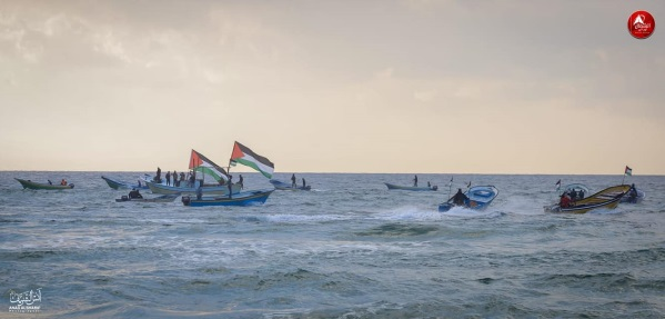The weekly mini-flotilla and accompanying demonstration in the northern Gaza Strip (The Supreme National Authority Facebook page, December 24, 2018).