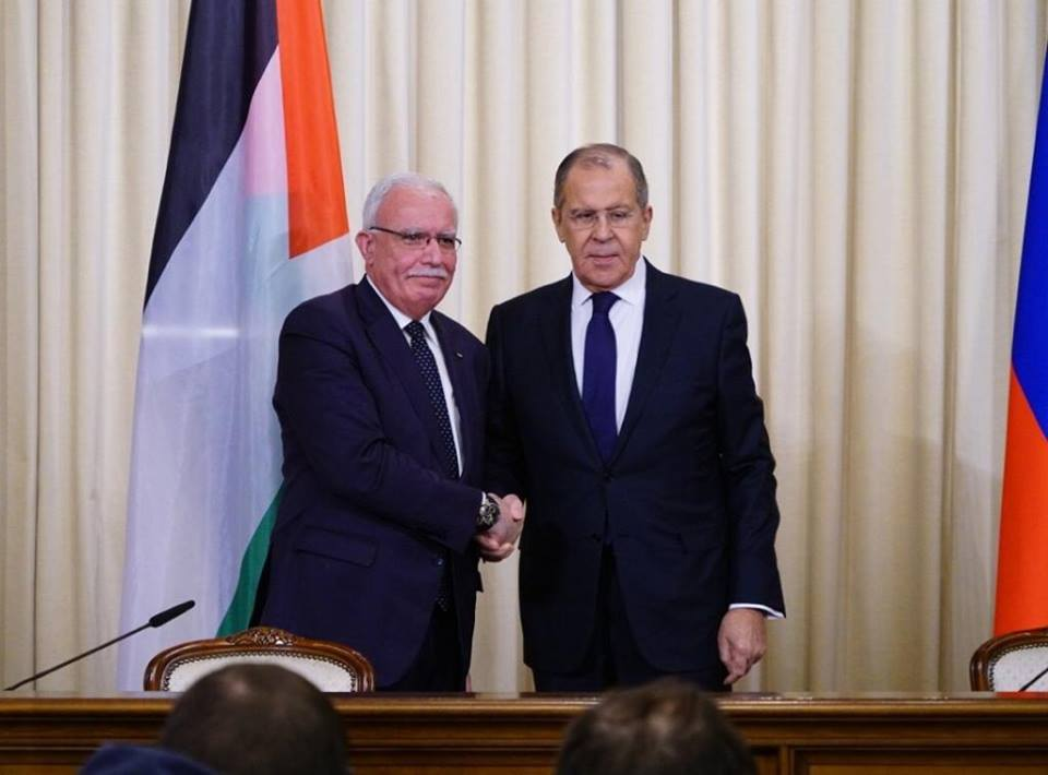 Riyad al-Maliki and Sergey Lavrov (right) (Palestinian foreign ministry's Facebook page, December 21, 2018).