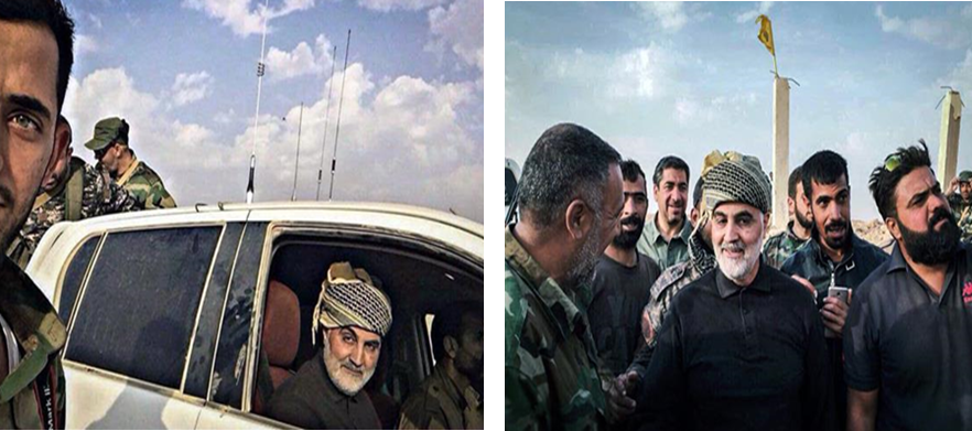 The Commander of the IRGC's Qods Force, Qasem Soleimani, and fighters with the Harakat Nujaba' militia in the Albu Kamal region. (Arabi21, November 16, 2017).