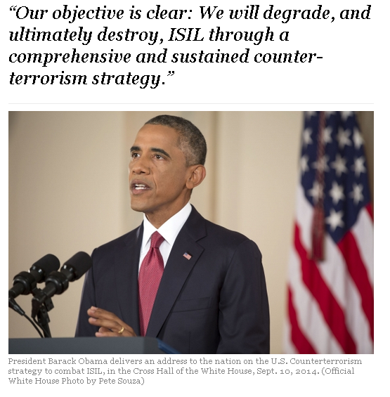 Four years before Trump: Obama on beginning the campaign against ISIS[2] (White House website, September 10, 2014).