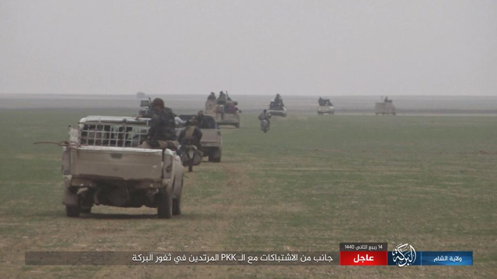 ISIS ATVs and motorcycles move through an open area during an attack on SDF forces (ISIS's al-Sham-al-Barakah province, December 21, 2018).