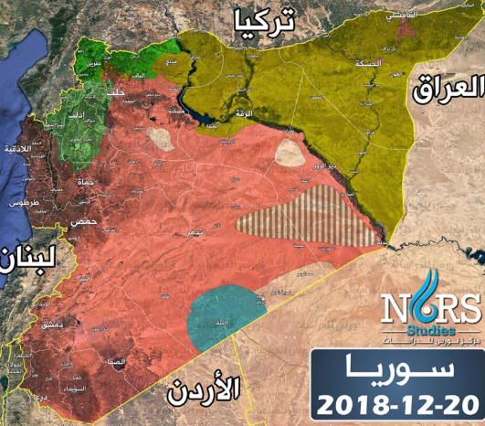 Map of the areas of control in Syria (as of December 20, 2018): under Syrian regime control (red); under Kurdish control (yellow); controlled by the rebel organizations in the Tanf enclave (green); controlled by coalition forces (blue); controlled by ISIS (black and lined); uncontrolled by an organization or country (white) (Nours Syrian Institute for Strategic Studies, December 20, 2018).