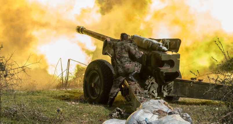 Syrian army artillery fire at an area controlled by the rebels in the Idlib Province (Butulat Al-Jaysh Al-Suri, December 23, 2018)