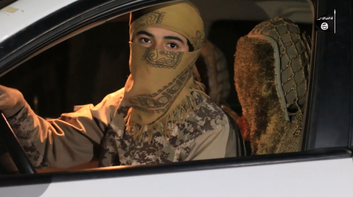The suicide bomber on his way to carry out the attack.