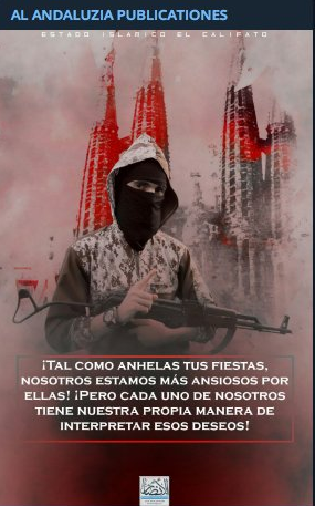 poster encouraging attacks on Christian holidays (ISIS-affiliated Maharrir al-Ansar Foundation, December 24, 2018). At the top it says Al Andaluzia Publicaciones, i.e.,  Andalusian Publications. The ones behind this name are apparently ISIS supporters from Spain who translate material into Spanish and distribute it.